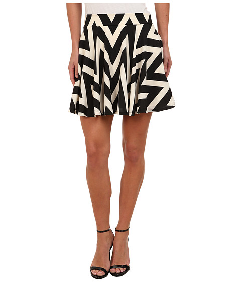 Gabriella Rocha - Chevron Skater Skirt (Black/Ivory) Women's Skirt