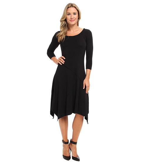 Mod-o-doc - Cotton Modal Seamed Scoopneck Dress (Black) Women's Dress