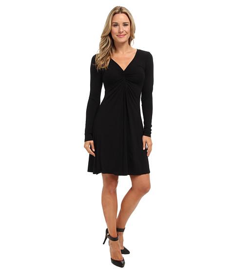 Mod-o-doc - Cotton Modal Shirred Front V-Neck Dress (Black) Women's Dress