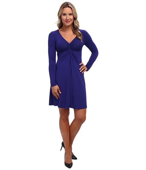 Mod-o-doc - Cotton Modal Shirred Front V-Neck Dress (Ultramarine) Women's Dress