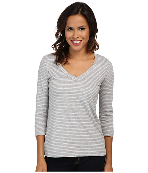 Mod-o-doc - Heather Stripe Jersey 3/4 Sleeve V-Neck Tee (Storm) Women's T Shirt