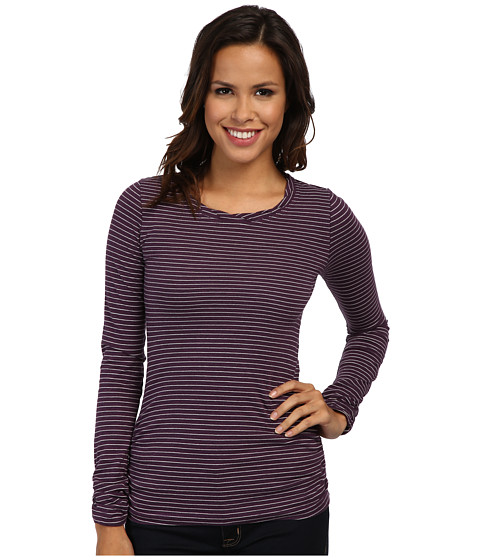 Mod-o-doc - Heather Stripe Jersey L/S Twisted Scoopneck Tee (Blackberry) Women