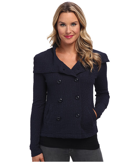Mod-o-doc - Basket Weave Jacquard Knit Double Breasted Jacket (Twilight) Women's Coat