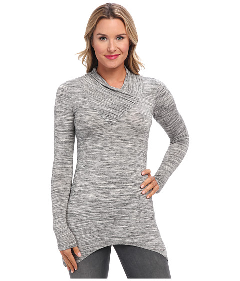 Mod-o-doc - Space Dyed Shirred V-Neck Collar Tunic (Charcoal Heather) Women