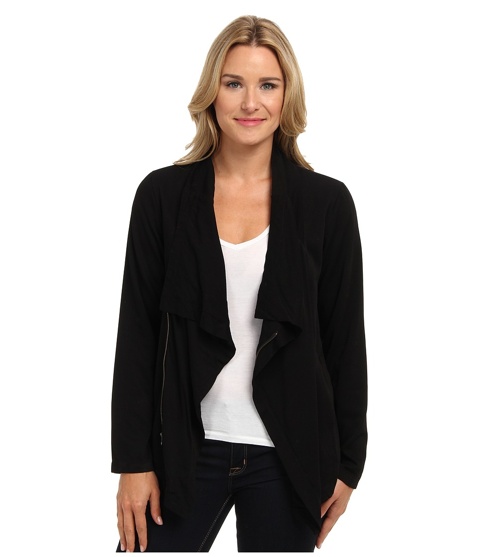 Mod-o-doc - Rayon Twill Easy Drape Moto Cardigan (Black) Women's Sweater