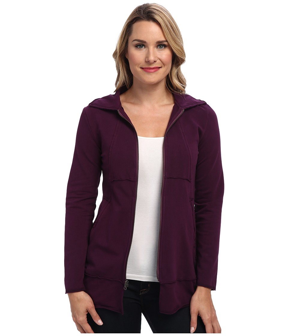 Mod-o-doc - Cotton Spandex Fleece Zip Jacket (Blackberry) Women