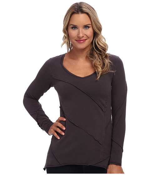 Mod-o-doc - Cotton Spandex Fleece Raw Edge V-Neck (Cinder) Women