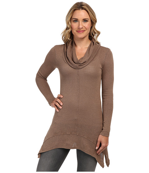 Mod-o-doc - Textured Sweater Knit Cowl Neck Tunic (Walnut) Women