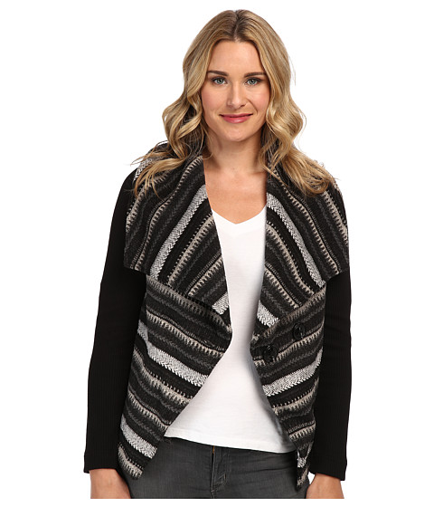 Mod-o-doc - Big Collar Coat w/ Rib Sleeves (Black) Women's Coat