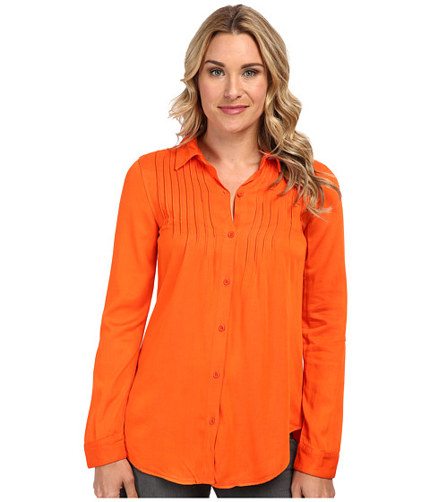 Mod-o-doc - Rayon Twill Button Front Shirt w/ Pintucks (Flame) Women's Long Sleeve Button Up
