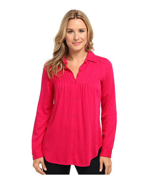 Mod-o-doc - Rayon Twill Button Front Shirt w/ Pintucks (Pinkberry) Women's Long Sleeve Button Up
