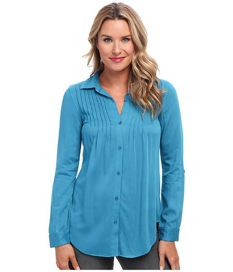 Mod-o-doc - Rayon Twill Button Front Shirt w/ Pintucks (Skyline) Women's Long Sleeve Button Up