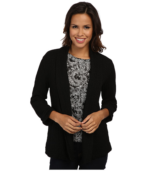 Mod-o-doc - Jacquard Knit Shawl Collar Cardigan (Black) Women's Sweater