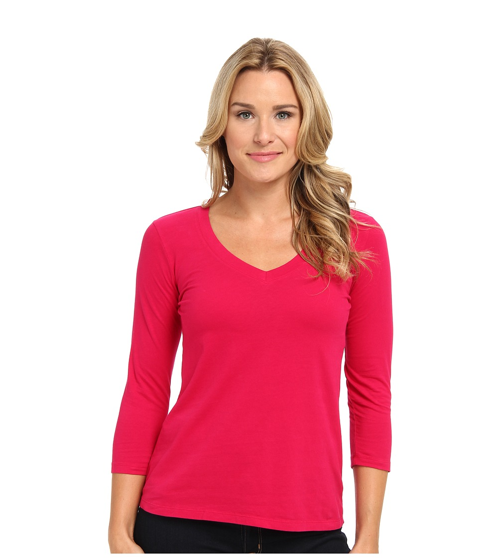 Mod-o-doc - Classic Jersey 3/4 Sleeve V-Neck Tee (Pinkberry) Women
