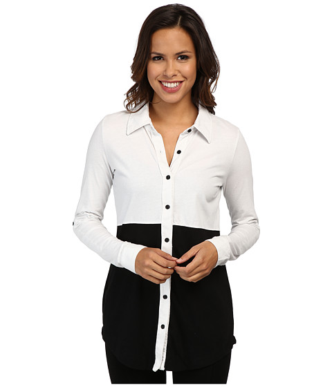 Mod-o-doc - Classic Jersey Colorblock Button Front Tunic (White) Women