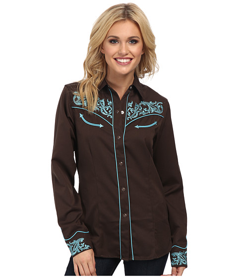 Roper - Old West Border Embroidery (Brown) Women's Long Sleeve Button Up