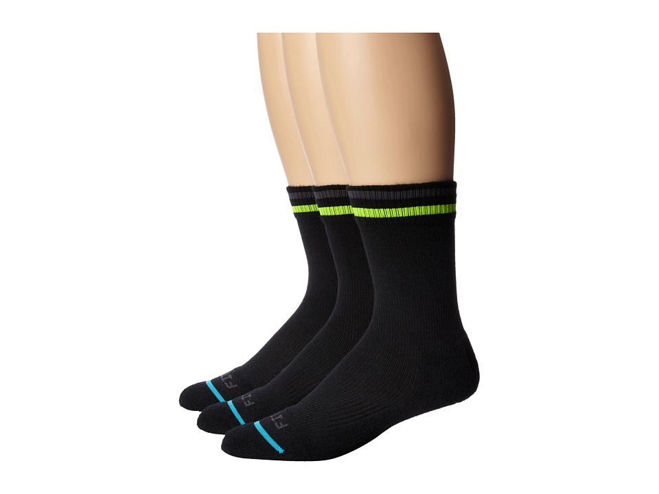 Fits - Light Active Tech Crew 3-Pack (Throwback Black) Crew Cut Socks Shoes