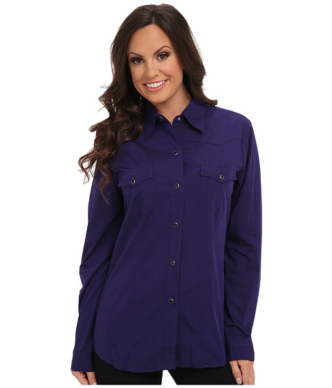 Roper - Solid With Black Fill (Purple) Women's Long Sleeve Button Up
