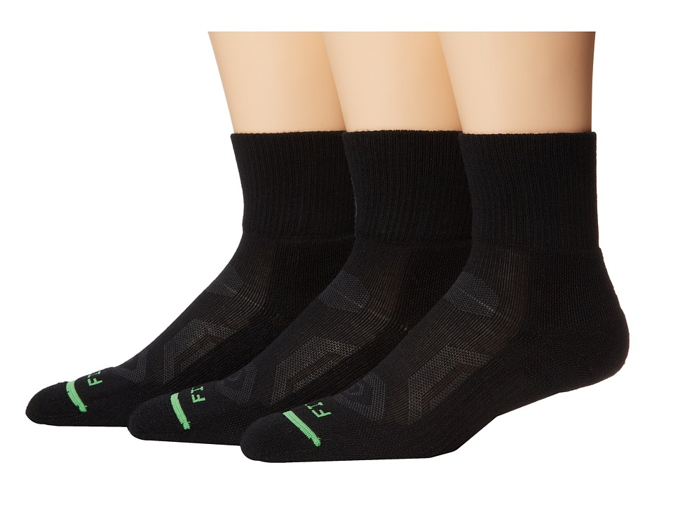 Fits - Pro Trail Performance Quarter 3-Pack (Black 2) Quarter Length Socks Shoes