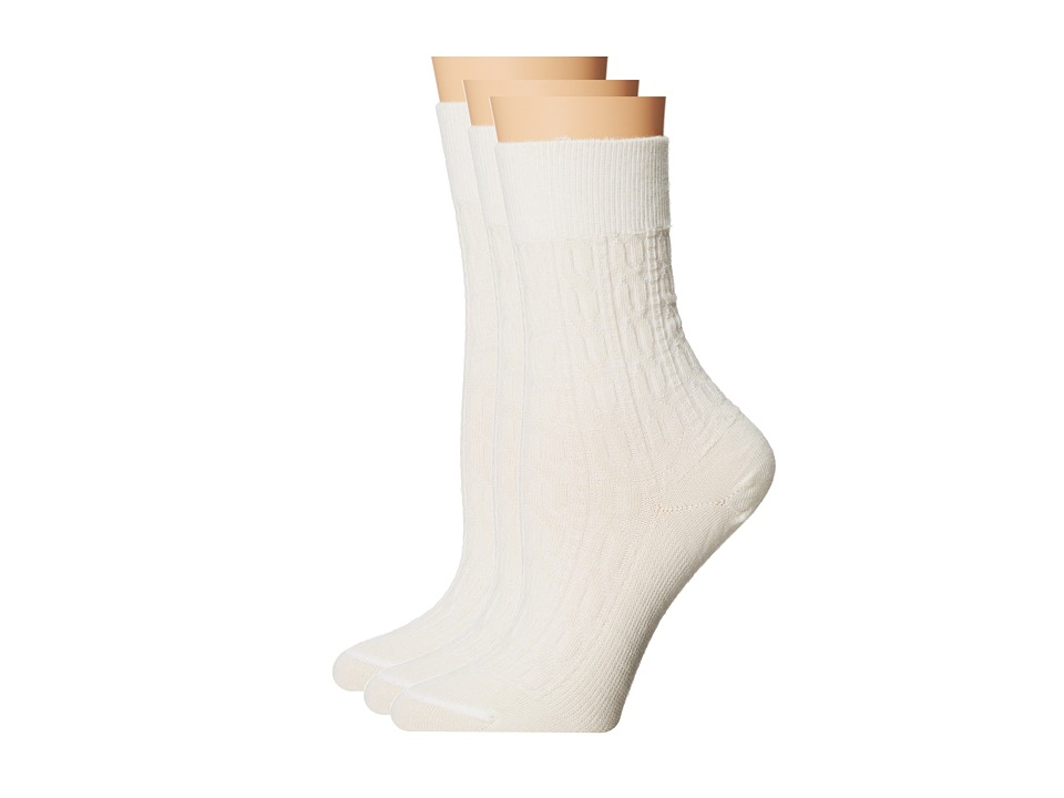 Fits - Center City 3-Pack (Cable Natural) Women's Crew Cut Socks Shoes