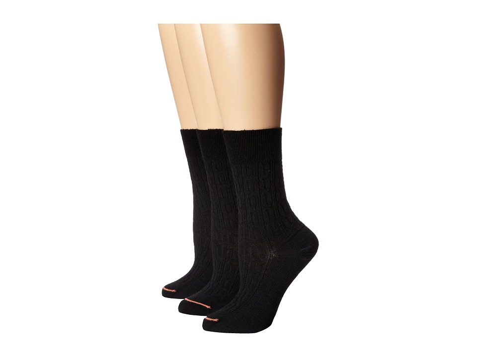 Fits - Center City 3-Pack (Cable Black) Women's Crew Cut Socks Shoes