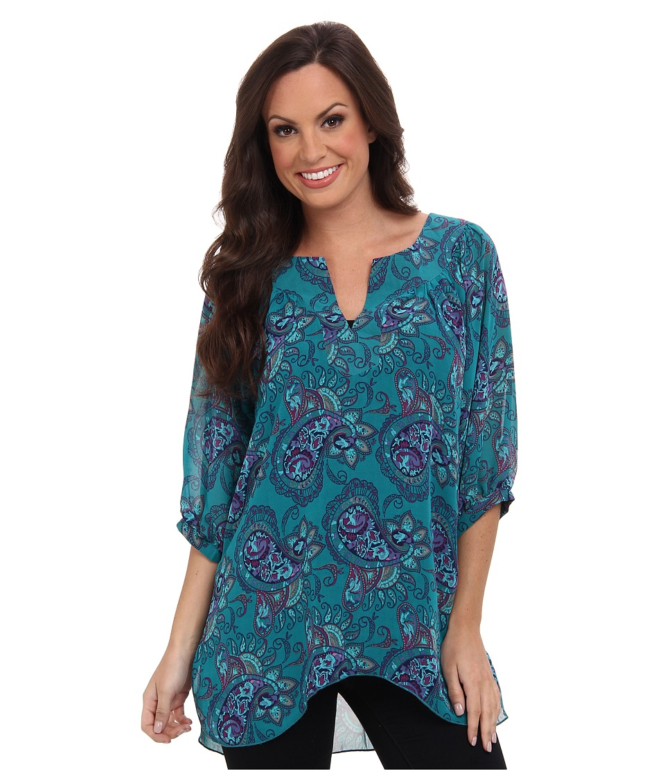 Roper - 9386 Paisley Prt Georgette Peasant (Green) Women's Long Sleeve Pullover