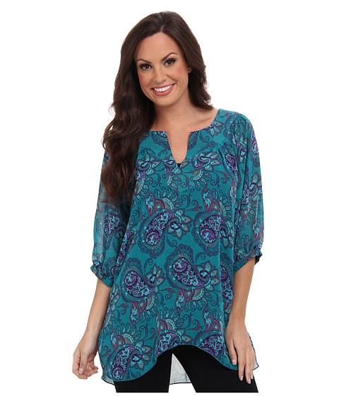 Roper - 9386 Paisley Prt Georgette Peasant (Green) Women's Long Sleeve Pullover
