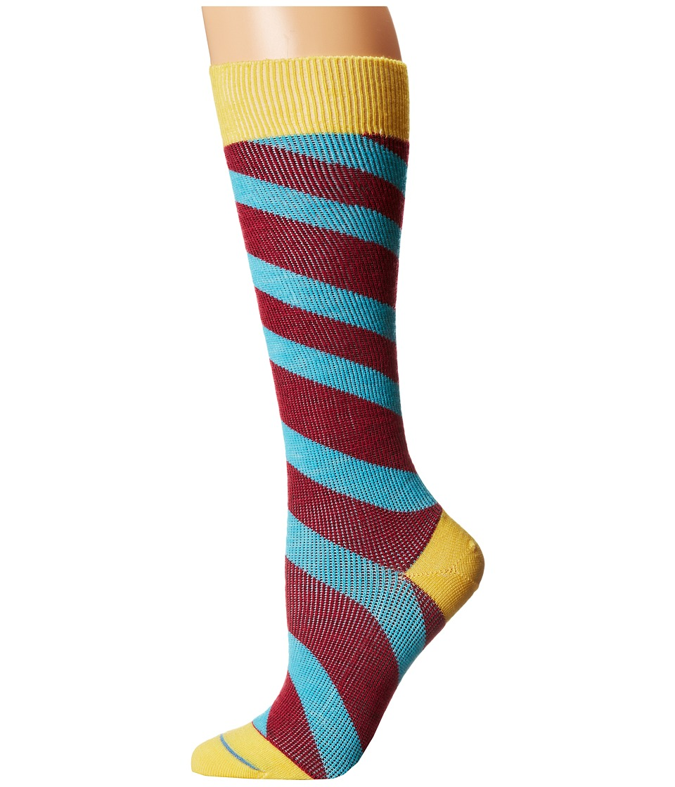 Fits - Center City Knee High (Incline Stripe Freesia) Women's Knee High Socks Shoes