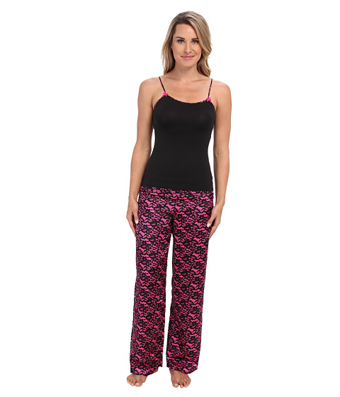 Betsey Johnson - Luscious Knit Satin Pajama Set 739806 (Lace Attraction Pink Scandal) Women