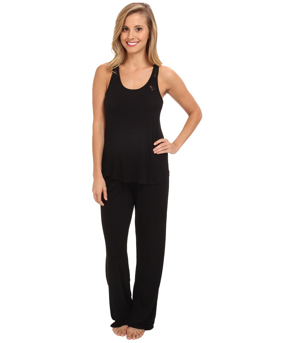 Betsey Johnson - Lace Racerback Pajama Set (Raven Black) Women's Pajama Sets
