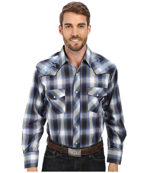 Roper - 9456 Blue Grey Plaid (Blue) Men's Clothing