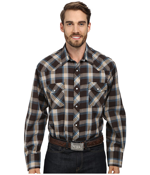 Roper - 9455 Brown Plaid With Turquoise Lurex (Brown) Men's Long Sleeve Button Up