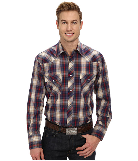 Roper - 9458 Navy Red Plaid With Gold Lurex (Blue) Men's Long Sleeve Button Up