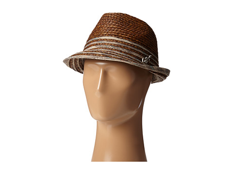 CARLOS by Carlos Santana - Raffia Braid Fedora with Navajo Print Band (Brown) Fedora Hats