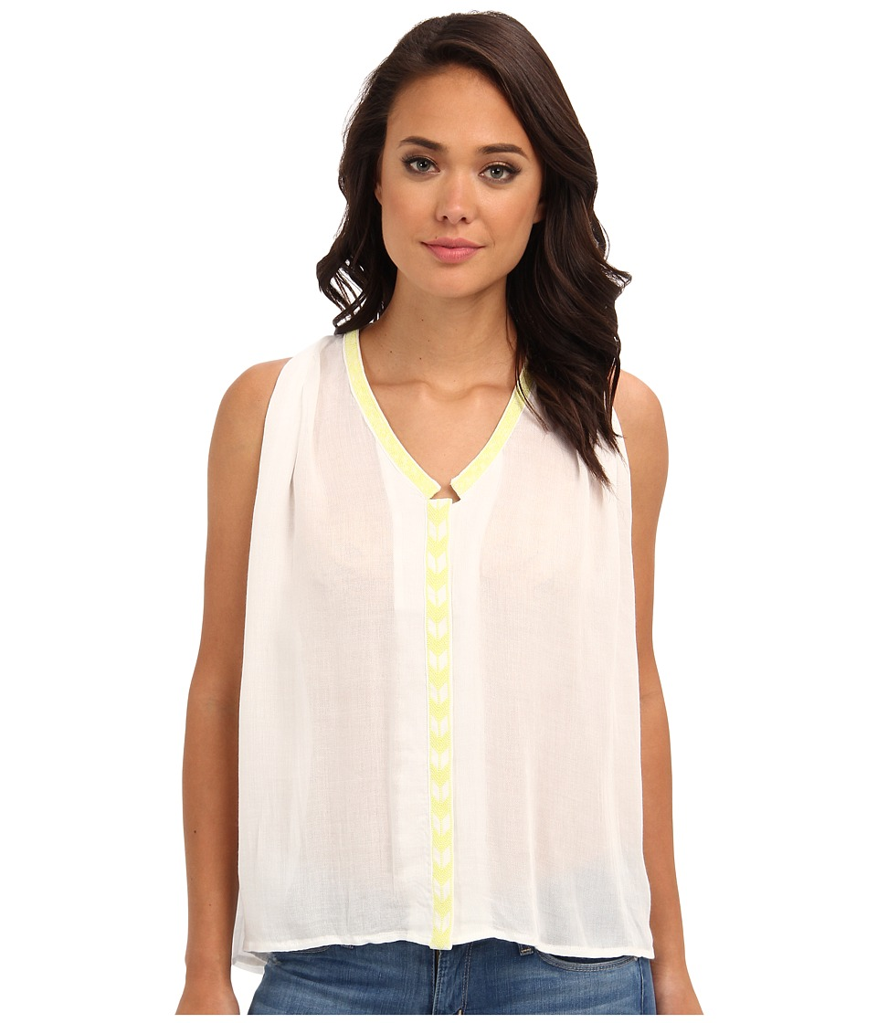 Aryn K - Flowy Tank w/ Embroidery Detail (White) Women's Blouse