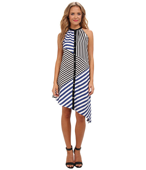 Aryn K - Halter Stripe Dress (Black/White) Women's Dress