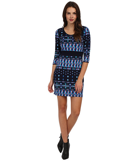 Yumi - Tribal Tunic Dress (Blue) Women's Dress