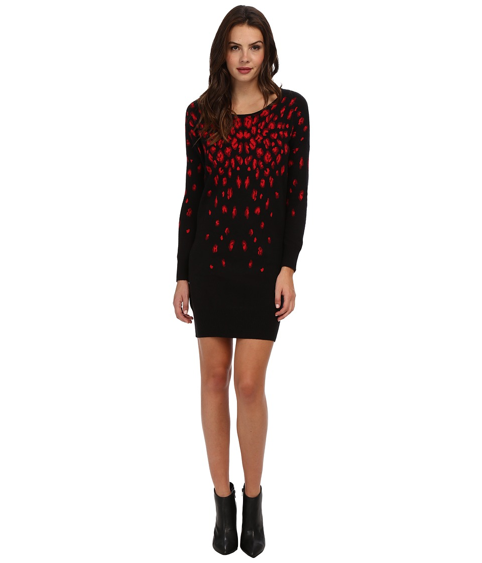 Yumi - Leopard Knitted Dress (Black) Women's Dress
