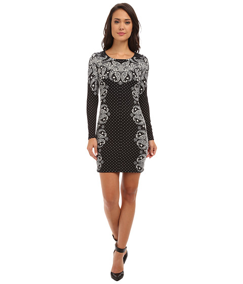 Yumi - Long Sleeve Printed Paisley Jersey Dress (Black) Women
