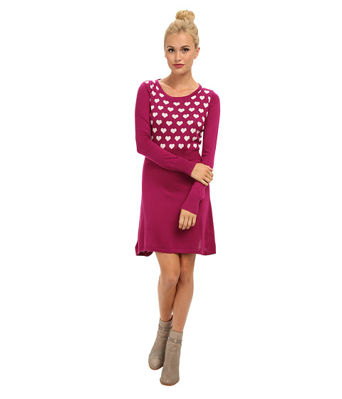 Yumi - Long Sleeve Knitted Intarsia Dress (Plum) Women's Dress