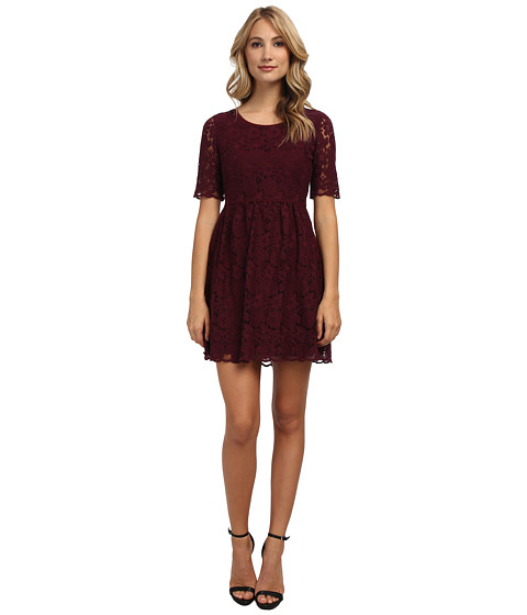 Yumi - Fit And Flare Lace Dress (Plum) Women's Dress