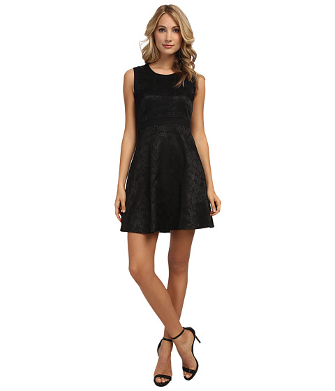 Yumi - Textured Jacquard Dress With Panel Detailing (Black) Women's Dress