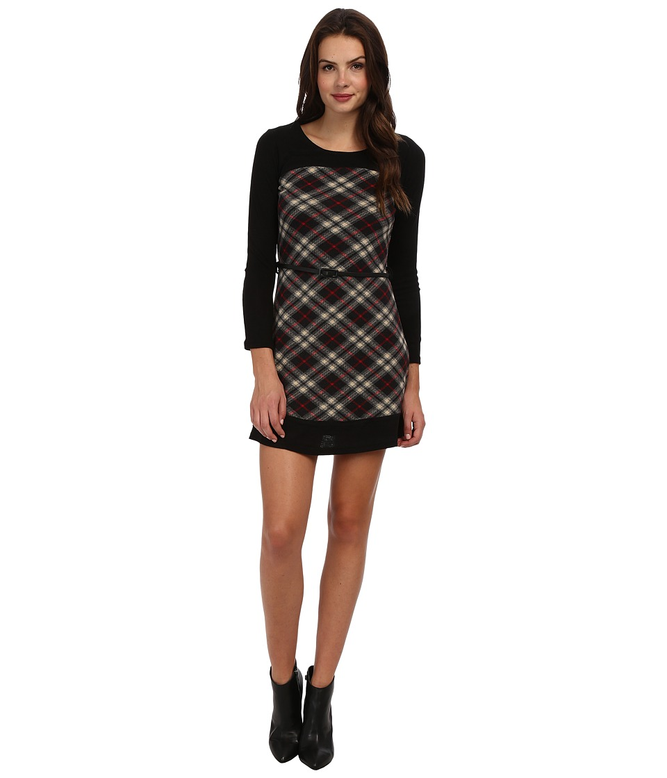 Yumi - Contrast Raglan Sleeve Check Dress With Belt Detail (Black) Women's Dress