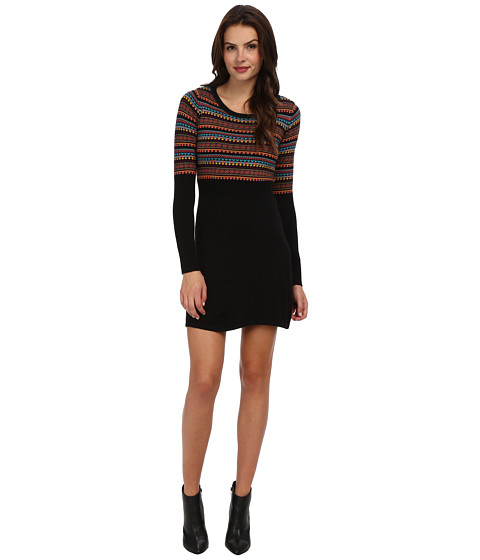 Yumi - Fair Isle Dress (Black) Women's Dress