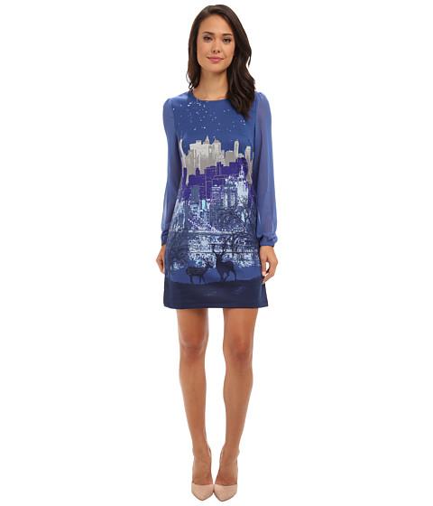 Yumi - Long Sleeve Printed Dress (Blue) Women's Dress