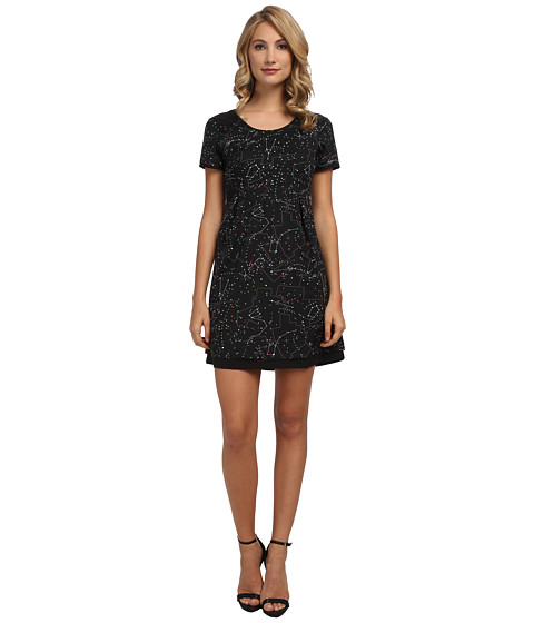 Yumi - Distant Galaxy Print Dress With Cross-Over Back Detail (Black) Women's Dress