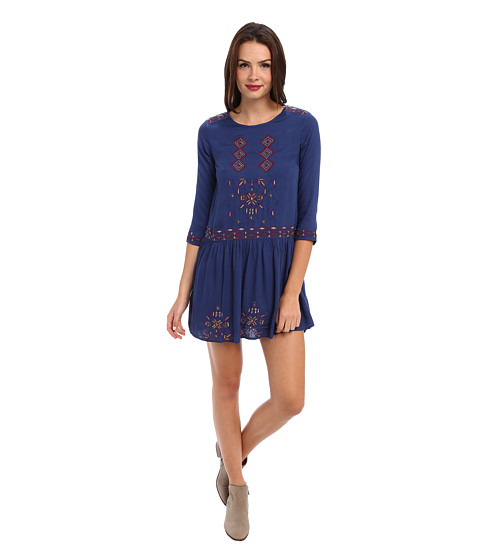 Yumi - Eclectic Embroidery Dress (Blue) Women's Dress