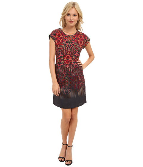 Yumi - Deco Tribes Print Dress (Pink) Women's Dress