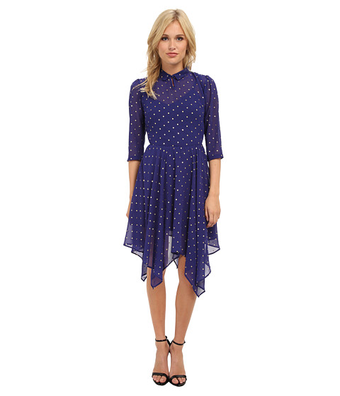 Yumi - Foil Star Print Dress With Dipped Hem (Blue) Women's Dress