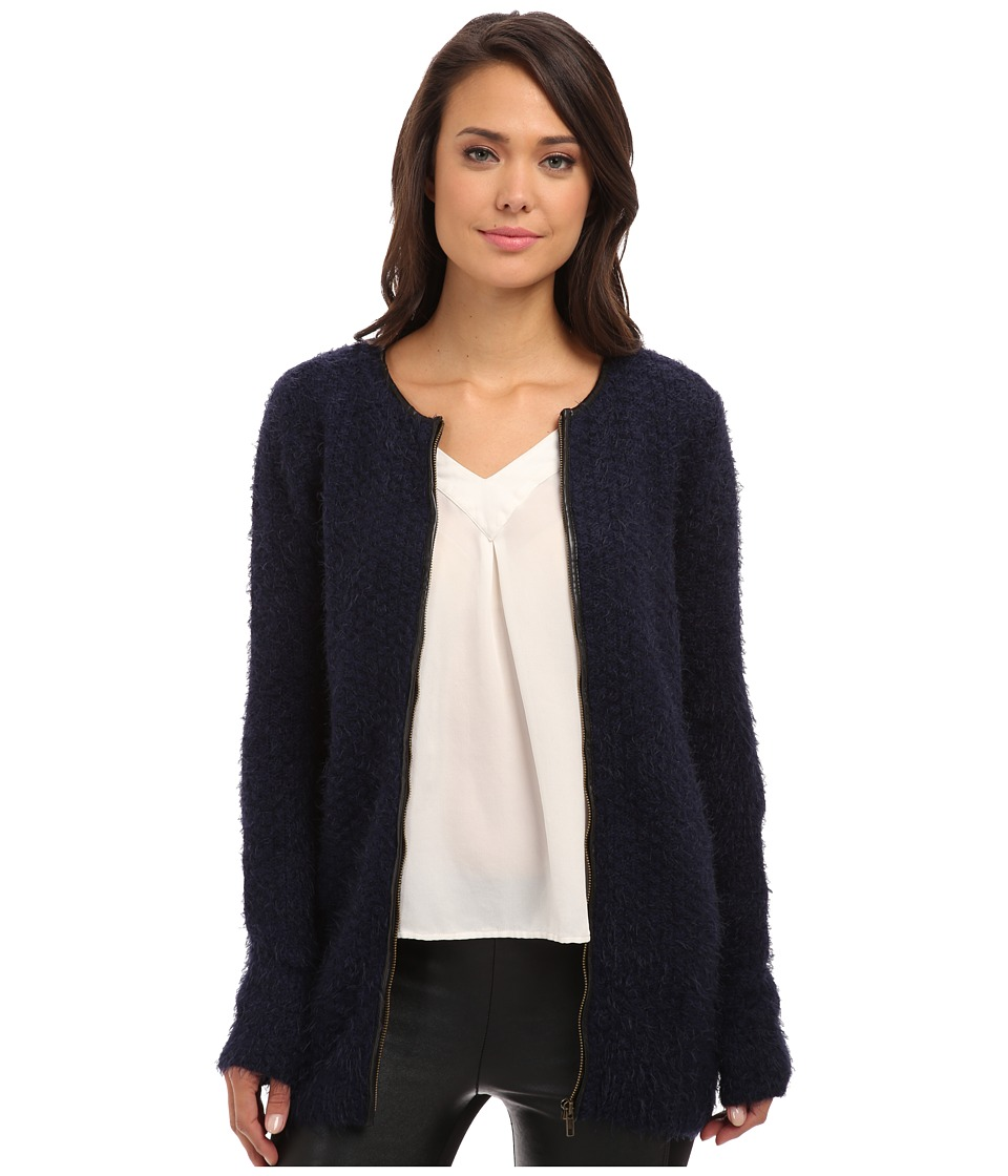 Yumi - Zip-Front Cardigan With PU Detailing (Navy) Women